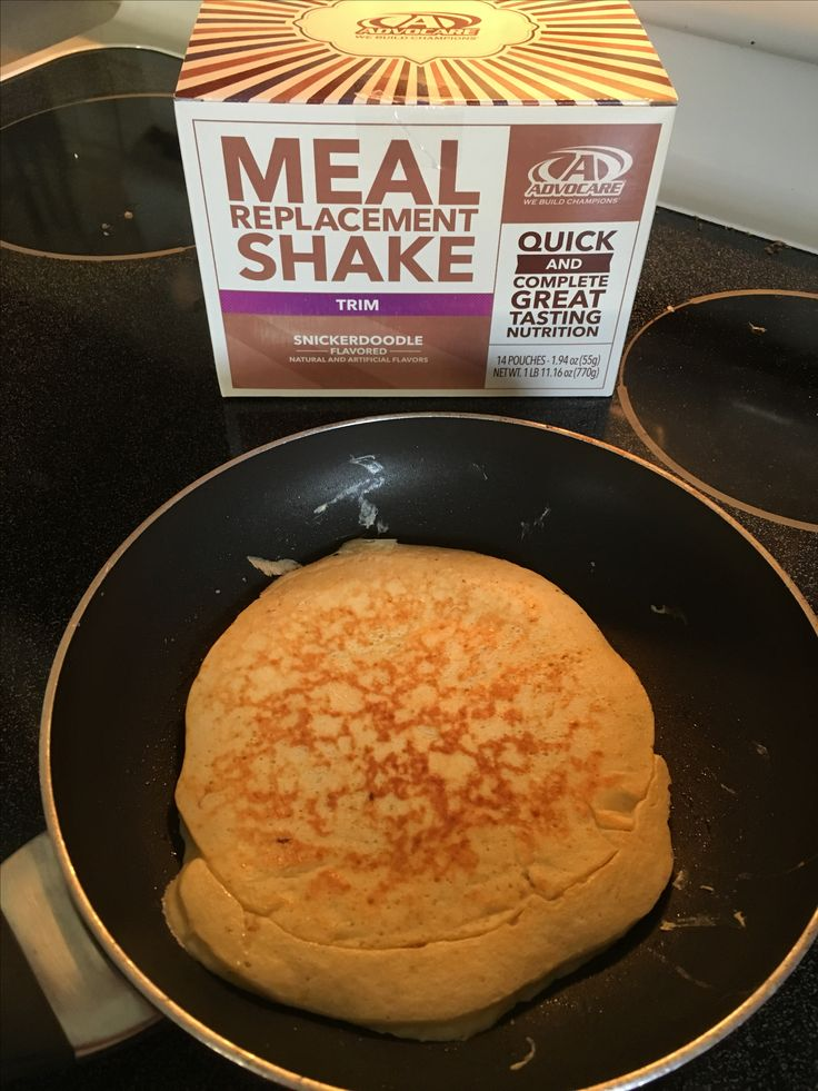 Advocare Snickerdoodle Protein Pancake: 1 meal replacement shake pouch, 1/4 cup water, 1 egg. Mix well, cook over low heat.