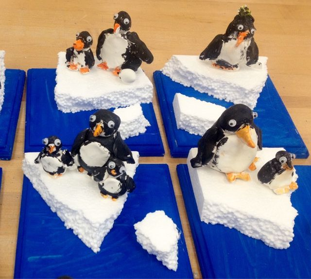 model magic penguins-styrofoam ice on wood-grades 1-3 Art with Mr. Giannetto blog