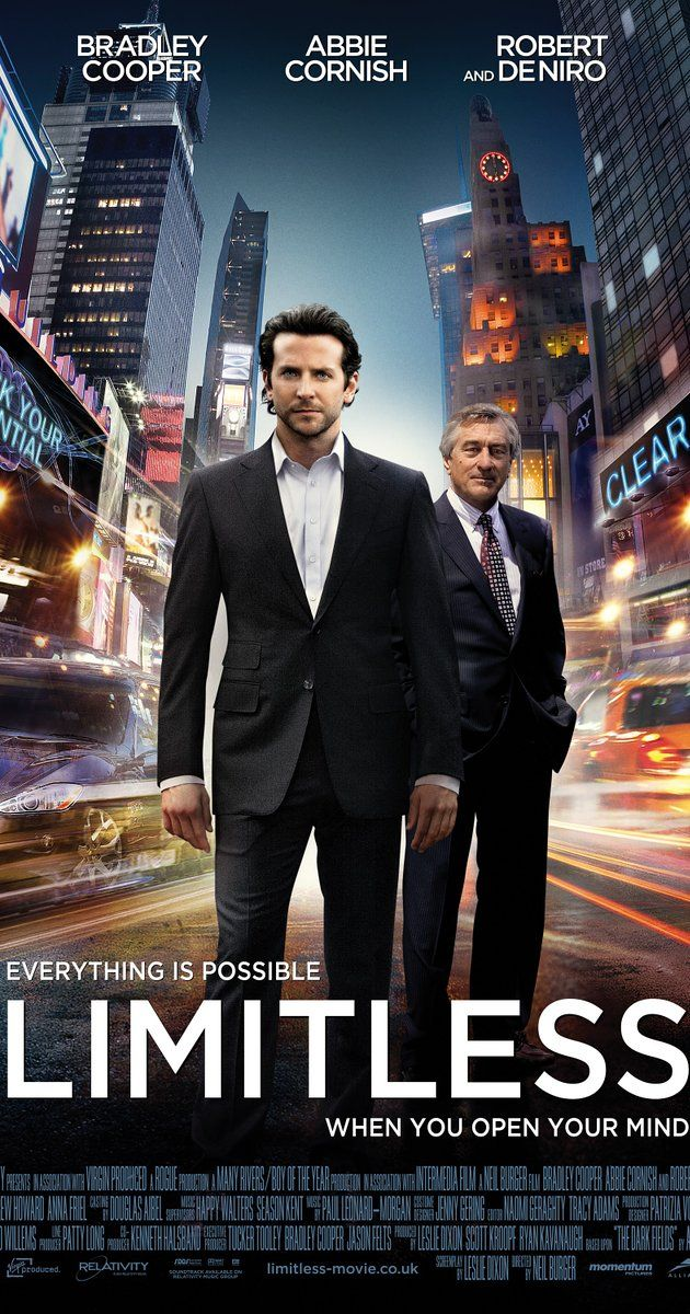 Directed by Neil Burger.  With Bradley Cooper, Anna Friel, Abbie Cornish, Robert De Niro. With the help of a mysterious pill that enables the user to access 100 percent of his brain abilities, a struggling writer becomes a financial wizard, but it also puts him in a new world with lots of dangers.