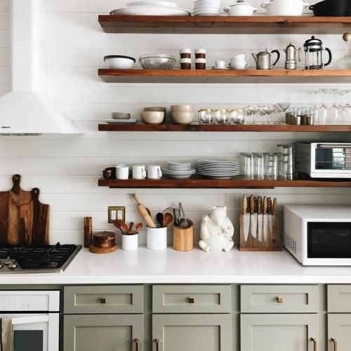 Pin By Reham Hany On Open Shelving: Pale Olive Green Cabinets And Open Shelves