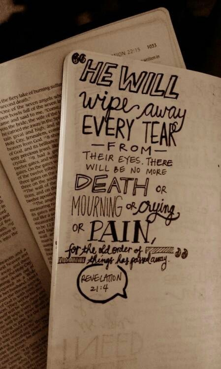 Revelation 21:4 And God will wipe away every tear from their eyes; there shall be no more death, nor sorrow, nor crying. There shall be no more pain, for the former things have passed away.""