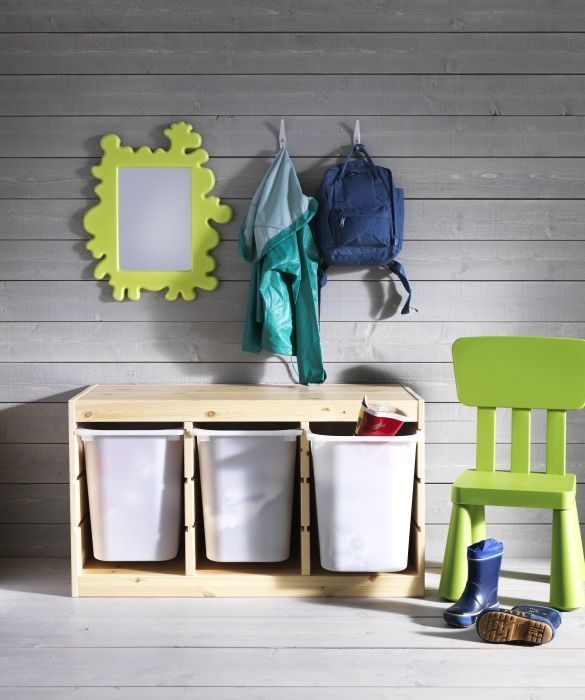 TROFAST is designed for toys but it's a practical storage solution in the hallway too. Use it to create a special spot for your kids in the entryway to make getting out the door a little easier.