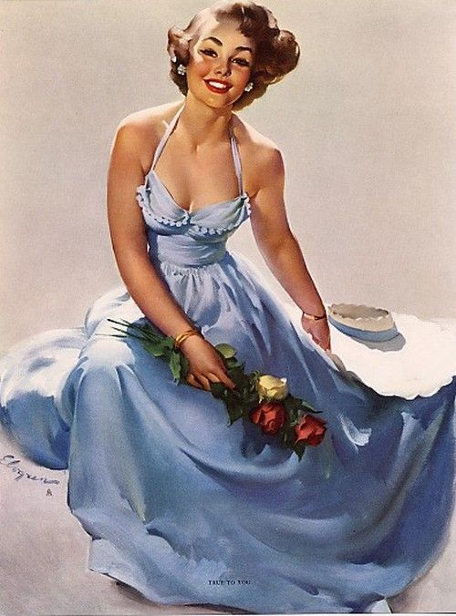 'True to You', pin up art by Gil Elvgren.