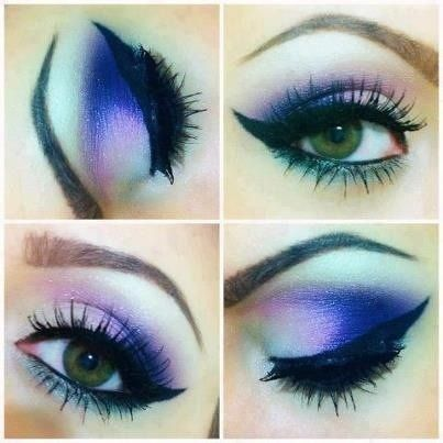 Blue and pink winged eye makeup