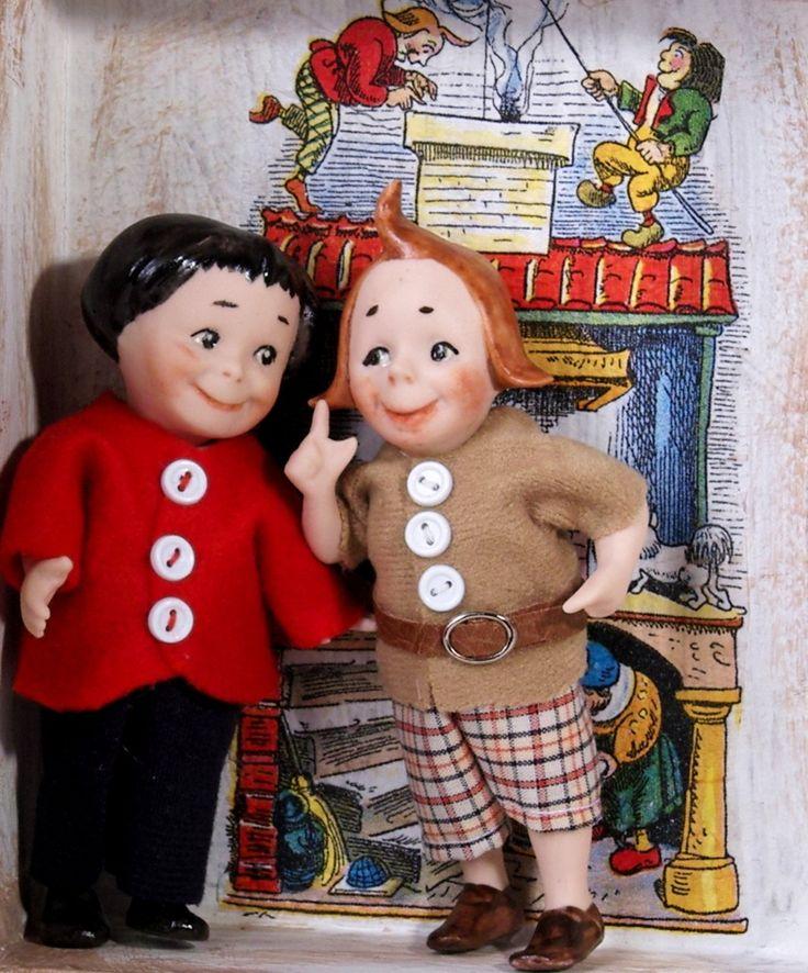 Max und Moritz 13 cm handgemacht aus Bisquitporzellan