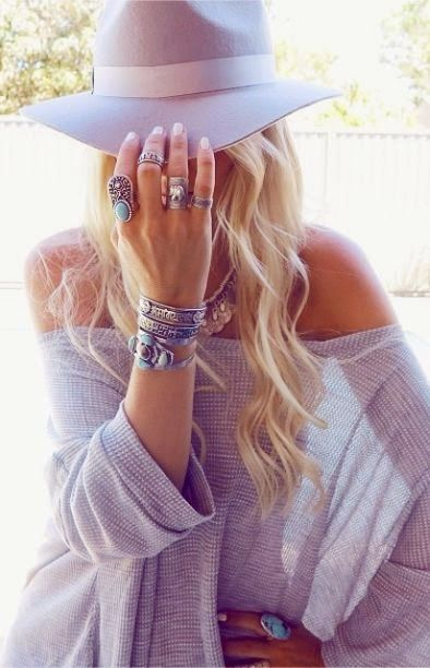 Boho chic stacked bracelets and hippie chunky rings. FOLLOW this board > http://www.pinterest.com/happygolicky/the-best-boho-chic-fashion-bohemian-jewelry-gypsy-/ for the BEST Bohemian fashion trends for 2015.