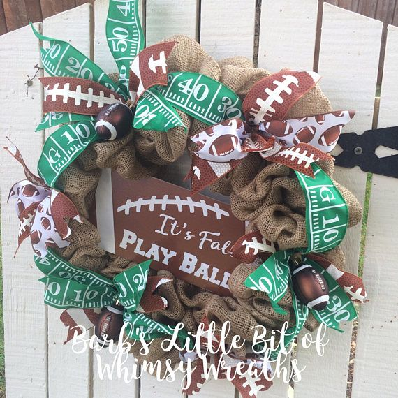 *Burlap Football Wreath! Burlap football wreath, Generic Football Wreath, Football Wreaths Burlap Wreath adorned with a Custom football sign, football ornament and football ribbons. Be SURE TO CHECK OUT MY other Football Wreaths! This wreath can be used indoors or outdoors in a