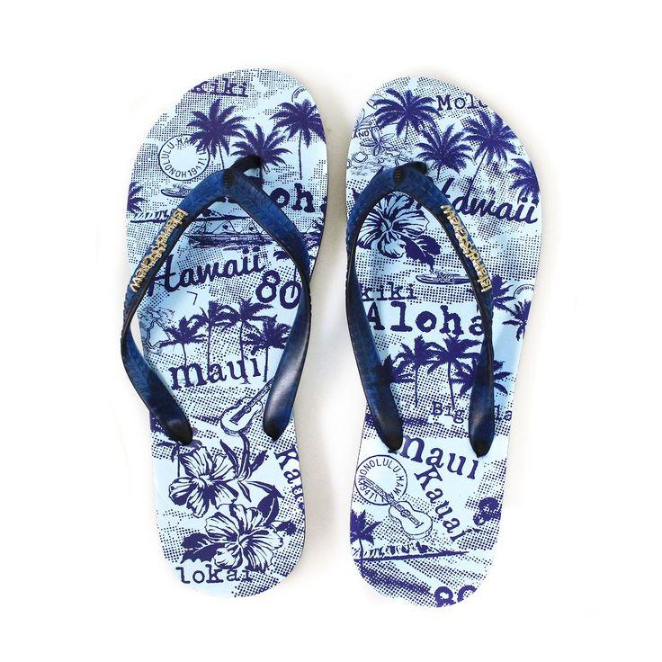 Hawaiian Print Flip Flops