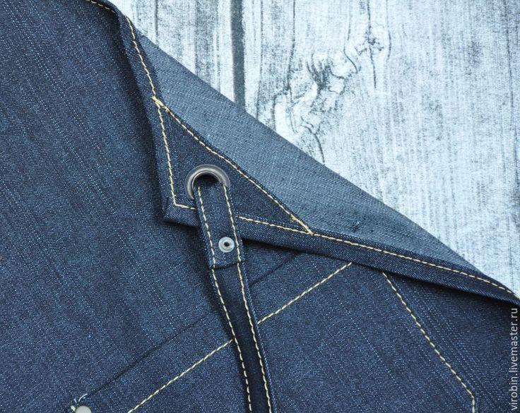 Купить Джинсовый фартук Workshop - тёмно-синий, джинса, фартук, фартук ручной работы