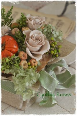 Preservedflowers in paper bag.