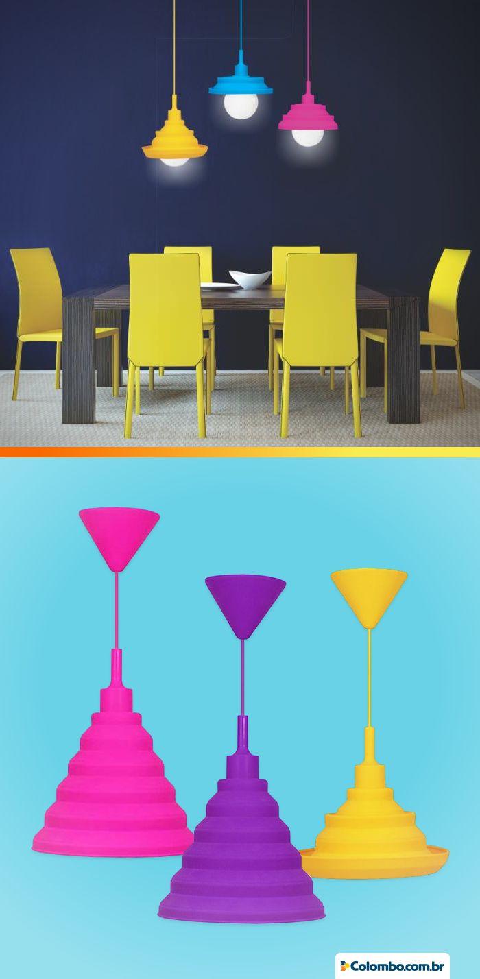 Lustres coloridos fazem parte de um ambiente moderno e descontraído. Veja várias opções para o seu: http://www.colombo.com.br/produto/Moveis/Pendente-Taschibra-Make-Color-E-27?utm_source=Pinterest&utm_medium=Post&utm_content=Pendente-Taschibra-Make-Color-E-27&utm_campaign=Produto-7jul14