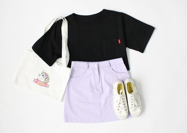 Black T-shirt, Purple Skirt, White Sneakers.