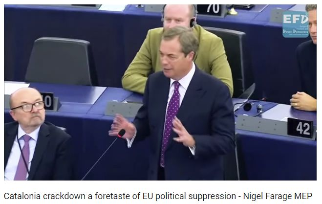 Nigel Farage Blasts EU, Juncker Over Catalonia: Spain Violates Article 2 of Lisbon Treaty | MishTalk