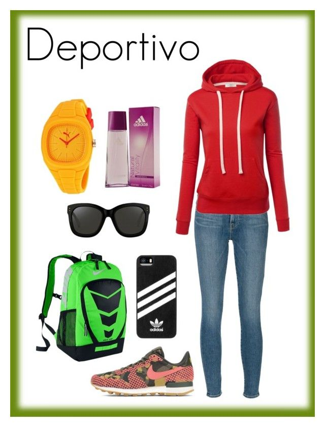 Estilo Deportivo by carlablasco on Polyvore featuring moda, Frame Denim, NIKE, Puma, adidas and Linda Farrow
