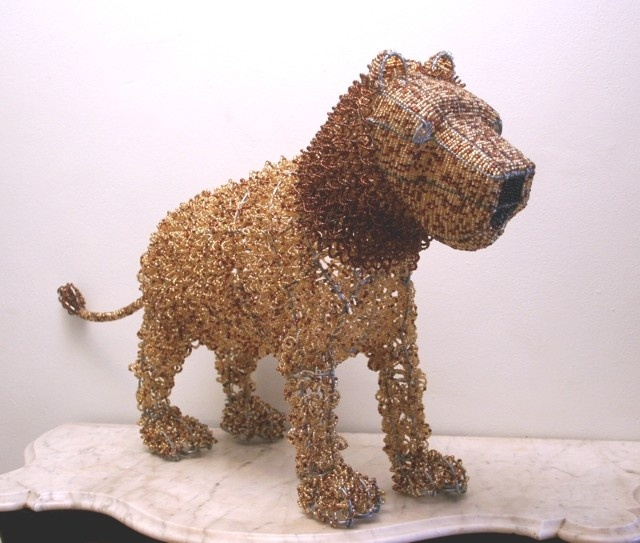 LION Sculptured From Wire And Beads