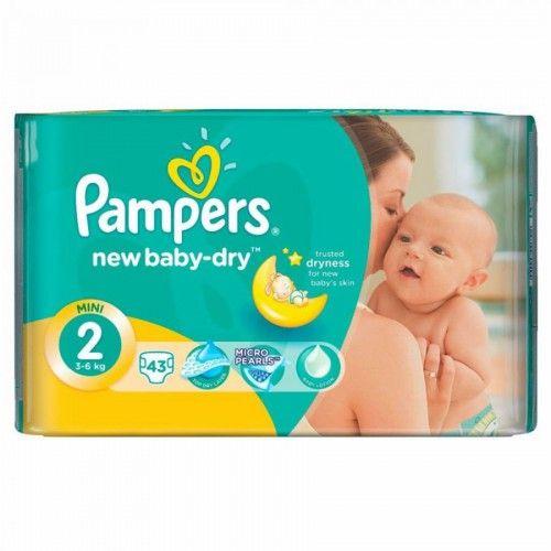 Pampers 2 New Baby-Dry, 43 ks, Kupte dětské pleny levně! Doprava zdarma při objednání za 1000 Kč!  https://babyplenky.cz/