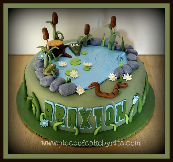 Swamp/Pond Cake: so cute, with whimsical details, like crocodile, snake, and frog. Would also be great for someone who fishes, with some minor changes. -By PieceOfCakeByRita.com, on CakeCentral.com