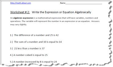 Practice Your Algebraic Expressions With These Pre Algebra Worksheets: Algebraic Expression Worksheet 2 of 5