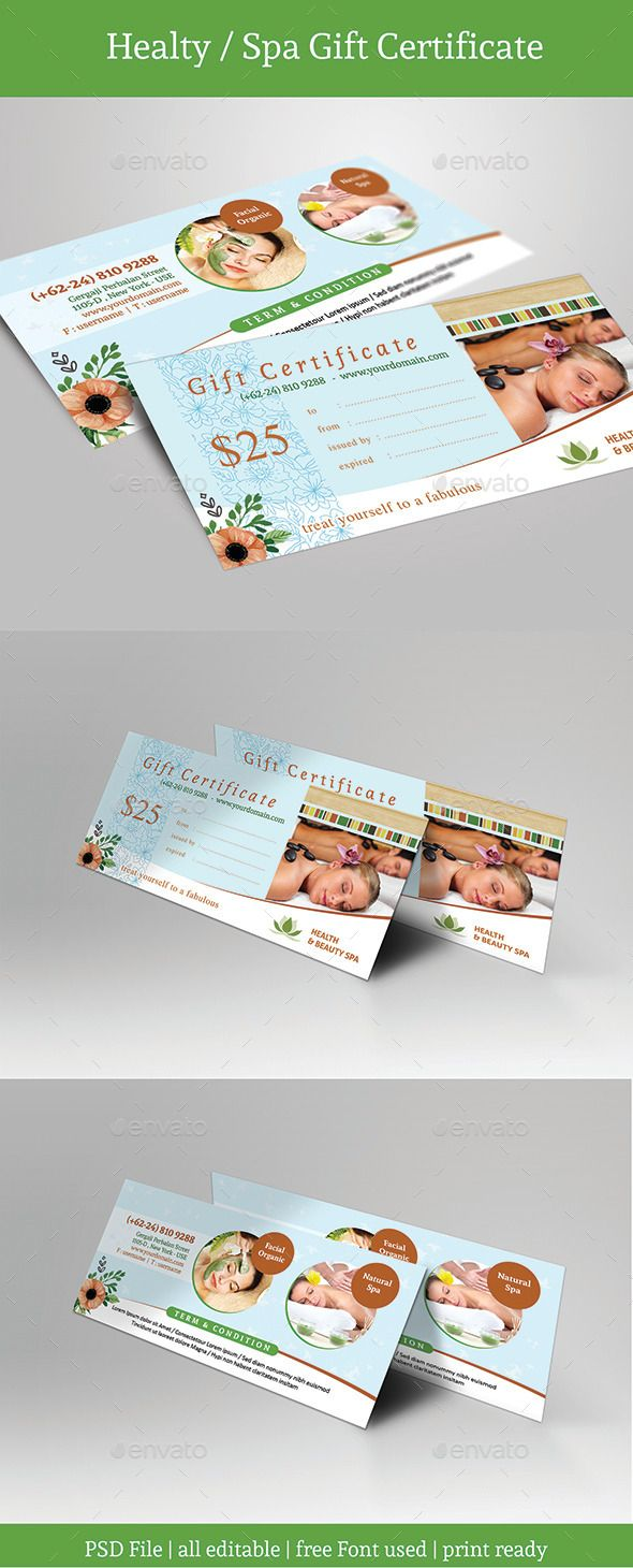 163 best voucher template design images on pinterest gift healty spa gift certificate psd template only available here http yadclub Image collections
