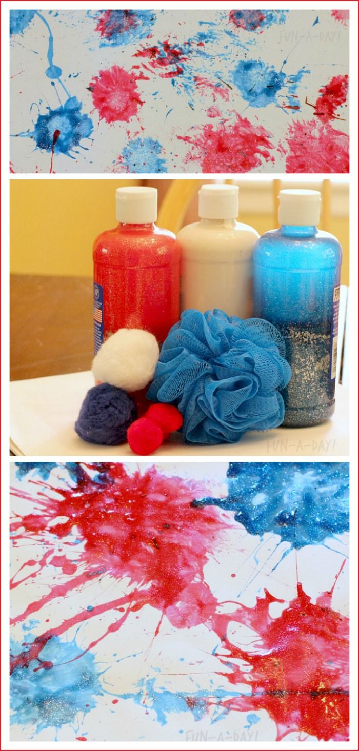 Easy and fun fireworks painting for kids to try out.  Glitter paint gives the fireworks some pizzazz!