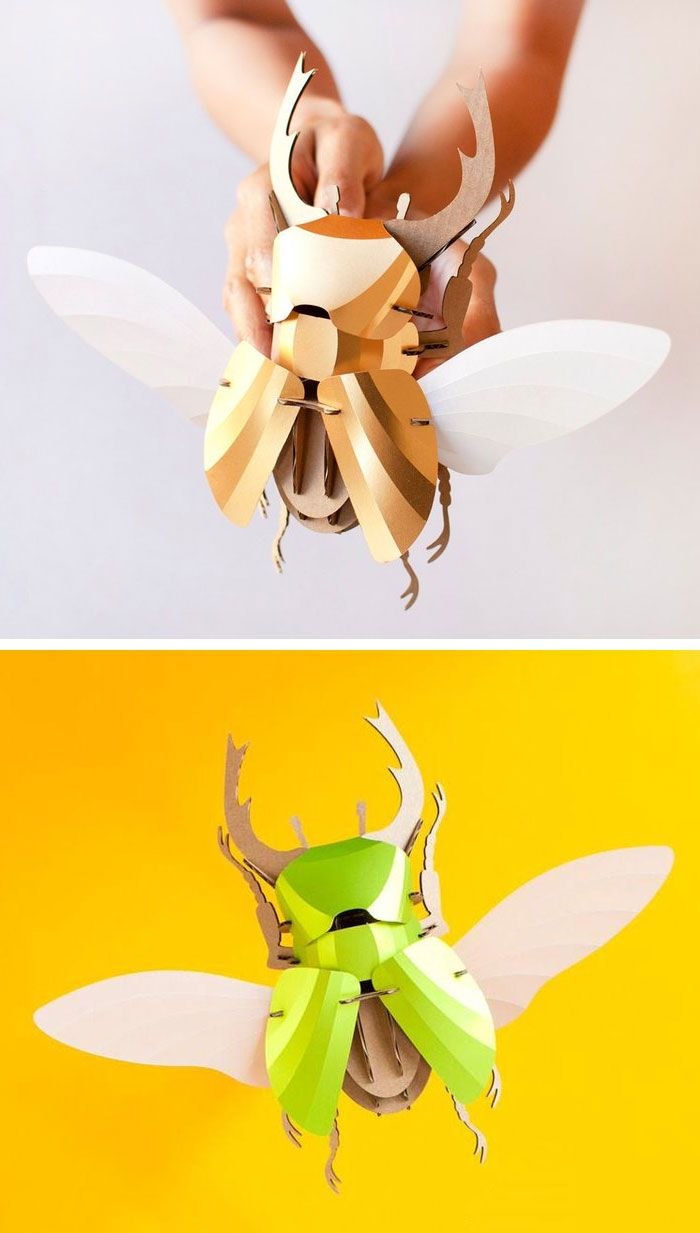 Balancing anatomical correctness with a refined design sensibility, these DIY Beetle Models by Assembli are as fun to put together as they are to admire once they're finished. The finely detailed design includes rendering of the beetle's joints as well as wing venation. The Stag Beetle is available in a brilliant Lime Green or Gold and comes with an optional display board.