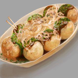 たこ焼き  Tako-yaki I want to return to Osaka just to eat this :D yummy tako-yaki!!!