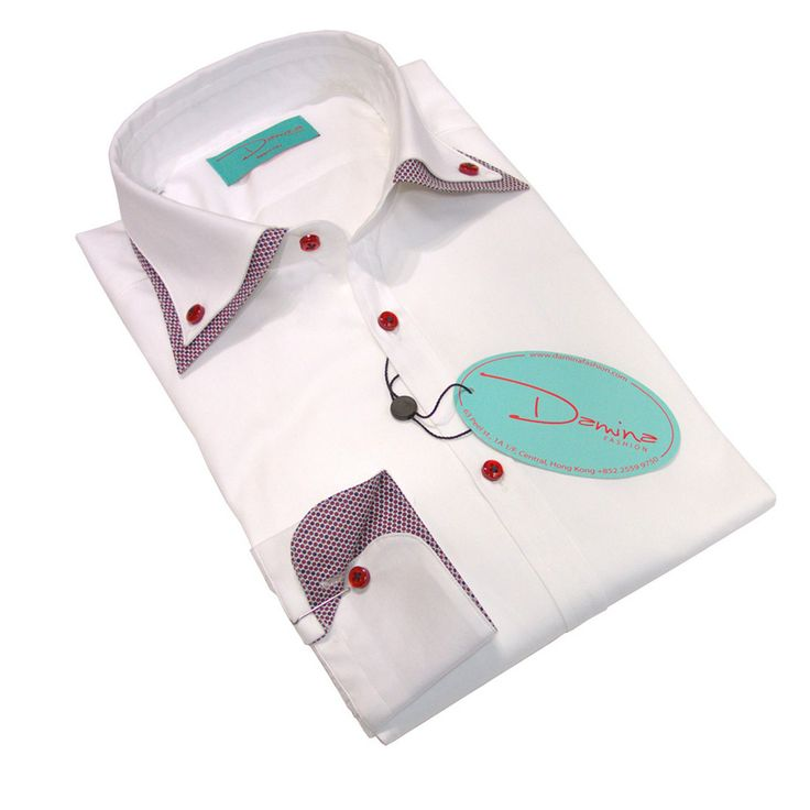 White red and blue double collar shirt 100% Cotton Made in Italy