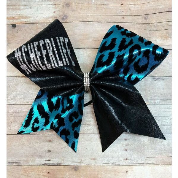 Cheerlife Cheer Bow Big Cheer Bows Bows With Words Cheerleading... ($13) ❤ liked on Polyvore featuring accessories, hair accessories, grey, ties & elastics, bow hair accessories, cheetah print hair accessories and teal hair accessories