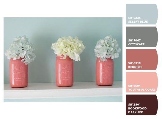 Painted mason jars for bathroom decor? (Coral) for coral + navy bath. Seafoam and Coral **bathroom accents **