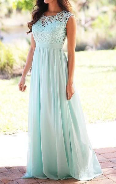 Gorgeous Lace Chiffon Long Bridesmaid Dress, 2017 cute Elegant Simple Aqua Prom Gown, Cheap Wedding Party Formal Gown