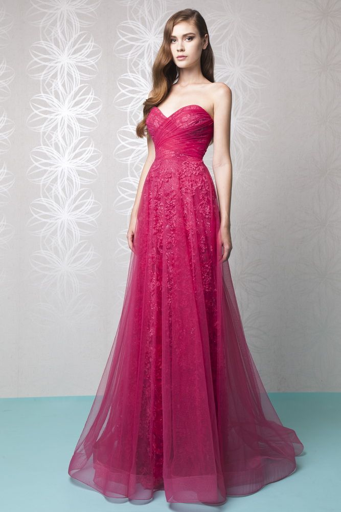 Tony Ward RTW Spring 16: A wonderful pop of color with this raspberry tulle gown with floral detail and sweetheart neckline.