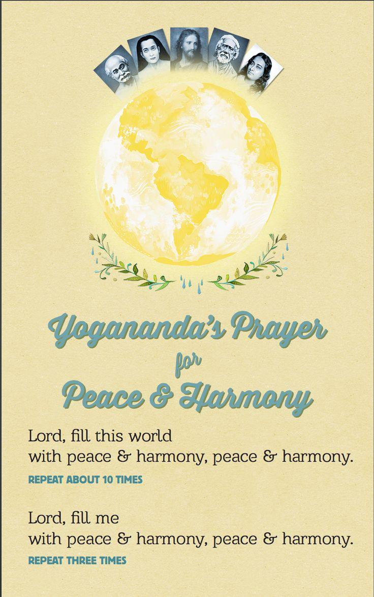 Yogananda's prayer for peace and harmony.