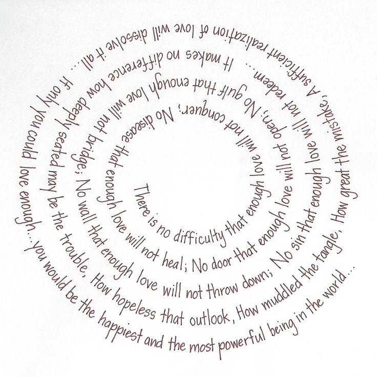 poem by emmett fox.  brown felt tip pen on translucent rag.  lettering style: atlanta.