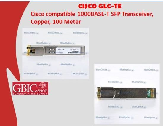 Compatible Cisco GLC-TE 1000Base-T SFP Transceivers are an equivalent solution for overpriced original Cisco GLC-TE   1000Base-T SFP Transceivers of network equipment manufacturers, which primarily serve as a margin product for the   manufacturers and fill the pockets of the companies at your expense.