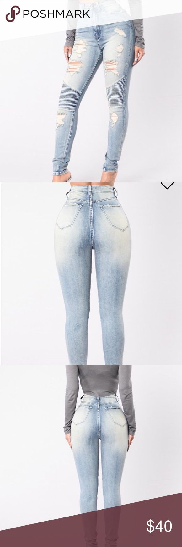 Stylish distress jeans Distressed Moto high rise, skinny legged jeans. Soft denim with spandex. High waist is totally flattering. Definitely won't be disappointed Jeans Skinny