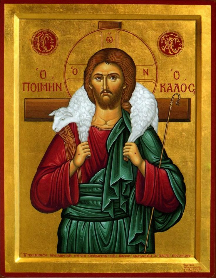 """Jesus, the Good Shepherd.  Whenever anyone sneeringly calls you a """"sheep,"""" ask yourself and them which shepherd we follow.  The fact of the matter is that we all obey authority, and we're all sheep.  The more important question is whom or what we obey."""