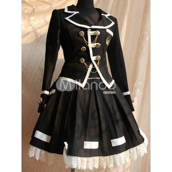 Vestido de guerrera de lana de Lolita gótica para la negro Kakis... ❤ liked on Polyvore featuring dresses, vestidos, black, cosplay and lolita