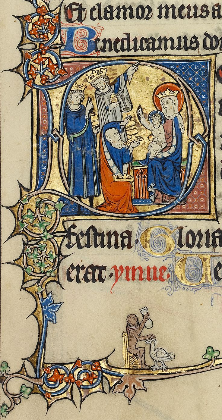 + The Epiphany of the Lord, January 4, 2015 + Et adorabunt eum omnes reges, omnes gentes servient ei.   image: Adoration of the Magi (detail), from the Ruskin Hours, French, about 1300. J. Paul Getty Museum.