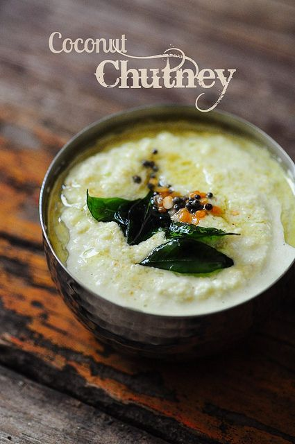 Tamil Coconut Chutney- In Kerala, Coconut Chutneys are made with just coconut as the main ingredient but in Tamil Nadu, Pottukadalai or Roasted Bengal Gram is almost always added to coconut chutney. This gives more body and thickness to the chutney. http://www.cookingandme.com/2013/01/coconut-chutney-recipe-thengai-thogayal.html