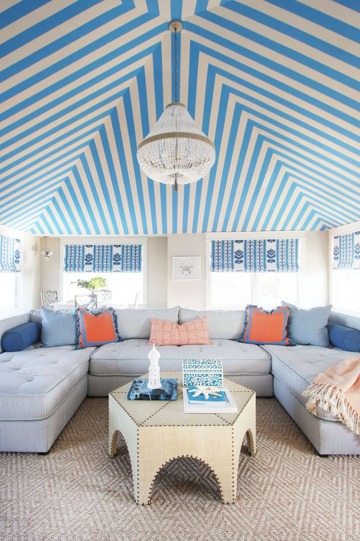 "Sun room inspiration - evokes feeling of a ""tent"". Designer Jenny Wolf weaves whimsy, pattern, and comfort into a carefree weekend home for a young family."