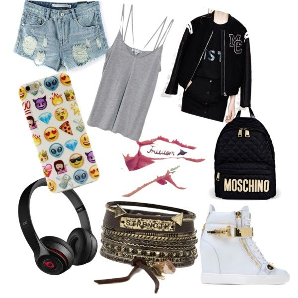 first day of college...... by fashionaddict-india on Polyvore featuring polyvore fashion style Cami NYC Giuseppe Zanotti Moschino BKE Beats by Dr. Dre