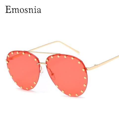 b5d4019fe96 Emosnia Red Lens Pilot Sunglasses Women Men Goggle Rivet Transparent Brand  Designer Sun Glasses For Ladies Metal Frame Oculos