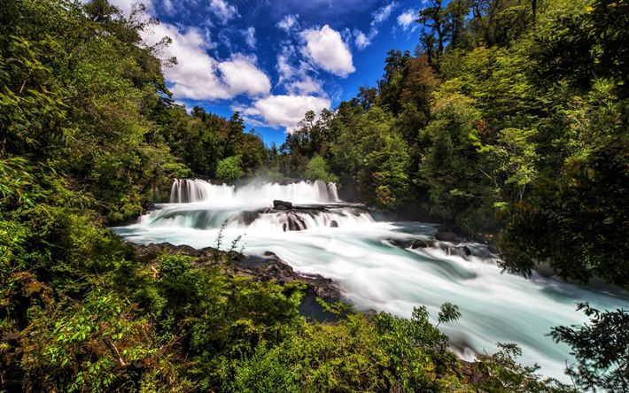 Download wallpapers beautiful waterfall, mountain river, forest, stones, water, Neltume, Chile