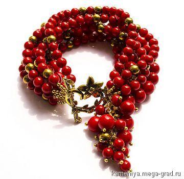 Коралловый браслет многорядный с подвеской - украшения из камня, авторский браслет. МегаГрад - портал авторской ручной работы