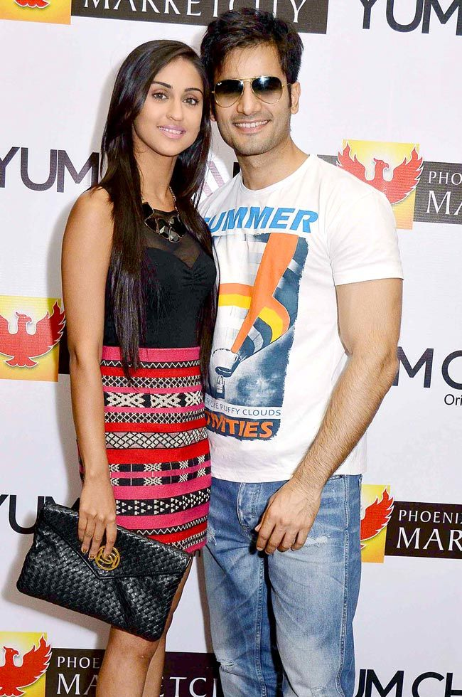 Krystal D'Souza with Karan Tacker at an Easter themed party. #Style #Bollywood #Fashion #Beauty