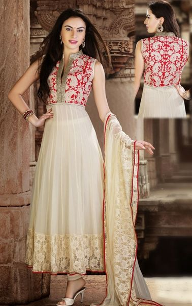 Picture of Exquisite Off White Wedding Anarali Salwar Kameez
