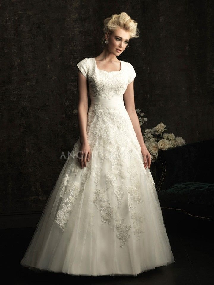 Modest Chapel Train A line Square Lace & Tulle Wedding Gown