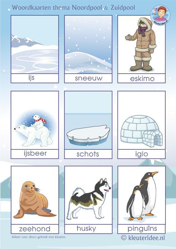 Woordkaarten voor kleuters, thema Noordpool en Zuidpool, kleuteridee, Arctic preschool theme free printable.