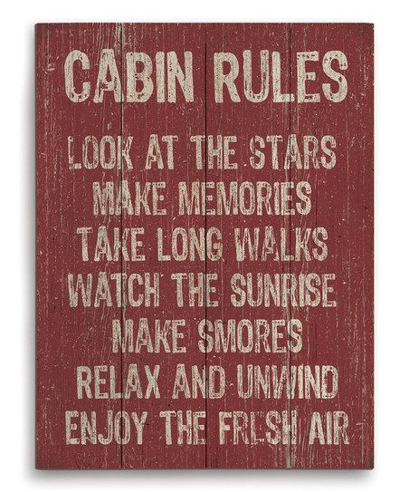Image Canvas Cabin Rules Wall Art | zulily