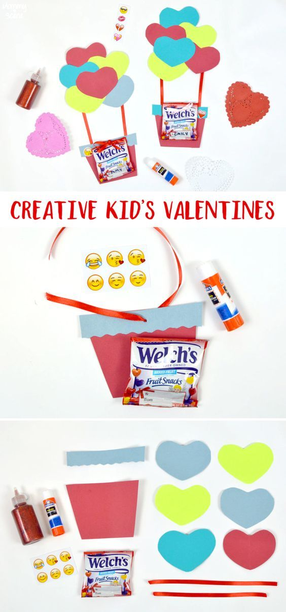 Kids can make these super cute hot air balloon Valentines for their friends, with fruit snacks!